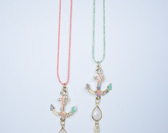 Ball chain enamel anchor charm necklace with semi precious gemstones and tassels