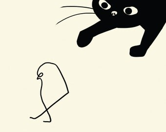black cat cards (3), picasso card, cat stalking bird card, funny cat card, black cat greeting card, pablo picasso, blank cat cards