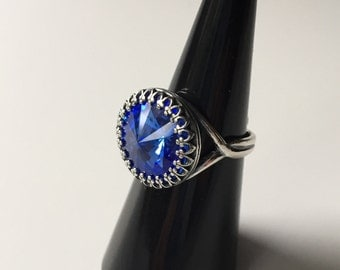 Antique Ring Sapphire Ring Ring with Stone Silver Ring Blue Ring Birthday Gift Sterling Silver Antique Blue Stone Gift Box