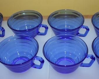 Cool Cobalt Blue Moderntone Tea Cups: Hazel Atlas, 8-Piece Set