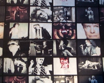Rock Legend David Bowie On a Very Cool, 56 Inch WIDE Fabric - Sold by the Half-Yard or Yard - VERY Limited Quantity!!