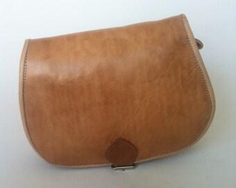 Moroccan Handcrafted Camel Brown leather Saddle Bag, cross-body messenger bag