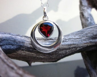 Sterling Silver & Garnet Necklace Faceted Heart - #36