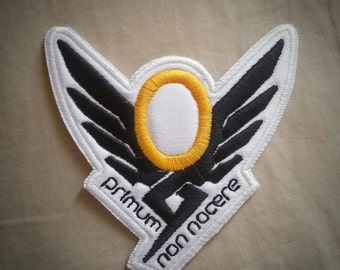 Sew-on patch - Overwatch Mercy shoulder symbol inspired embroidery -  10 cm / 4 in - costume and cosplay prop