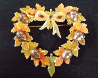 Wreath-shaped, Heart-shaped Brooch Marked KC on Back -- Marked down from 30 USD!