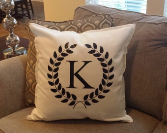 Monogrammed Family Initial Pillow | Personalized Gift | Housewarming Gift | Monogram | Pillow | 20 x 20 | Wedding Gift | Bridal Shower Gift