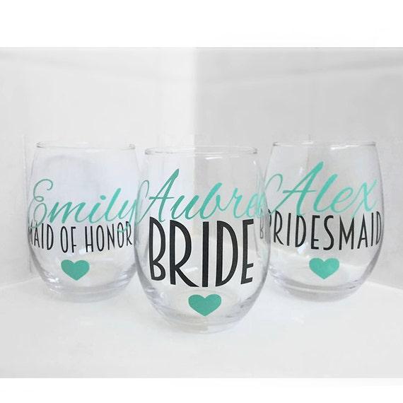 SET OF 5, bridesmaids cups, bachelorette cups, wedding cups, initial wine glasses, custom wine glass, custom wedding gift, bachelorette cup
