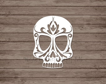 Damask Skull Papercut Template, Commercial Use Template, DIY Skull Paper Cut, Cut Your Own Skull Template, Paper Template, Gothic Papercut