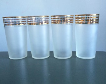 Vintage Frosted Highball Glasses with Gold Bands