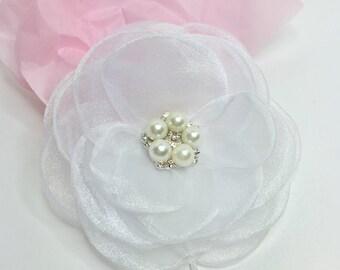 White Organza Hair Flower White Rose Hair Clip Pretty Bridal Hair Clip Rhinestone and Pearl Organza Rose Bobby Pin Bridesmaid Hair Pin