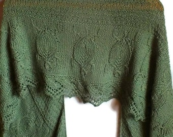 Green Hand Knit Crescent Shawl With Turtle Motif