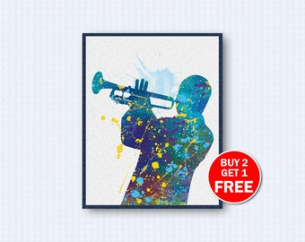 Louis Armstrong Poster, Louis Armstrong Watercolor, Jazz, Trumpet, Music, Music Poster, Watercolor Art, Wall Decor, Home Decor