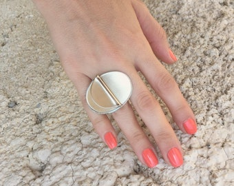 Urban Adjustable Ring , Rhodium plated fashionable ring , Unique gift for her.