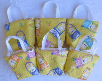 Set of 6 Easter Fabric Gift Bags/ Party Favor Bags/ Easter Goody Bags- Easter Wishes