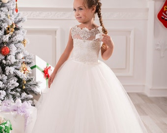 Ivory Lace Flower Girl Dress - Wedding Party Bridesmaid  Holiday Birthday Ivory Tulle Lace Flower Girl Dress