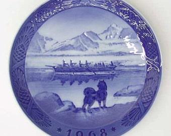 "1960s -- Royal Copenhagen Collector's Holiday Plate - Blue Porcelain - Christmas 1968 - ""The Last Umiak"" - Scene in Scandinavia"