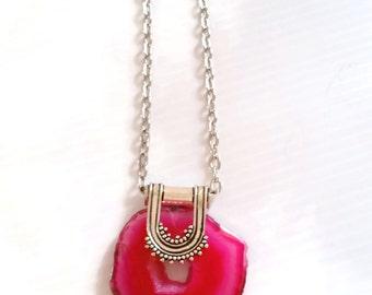 Pink Quartz Druzy Pendant -  925 Sterling Silver