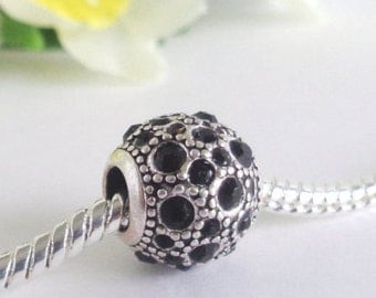 1pc - big hole 4mm - silver plated - round - strass - 11mm - charm for European snake chain