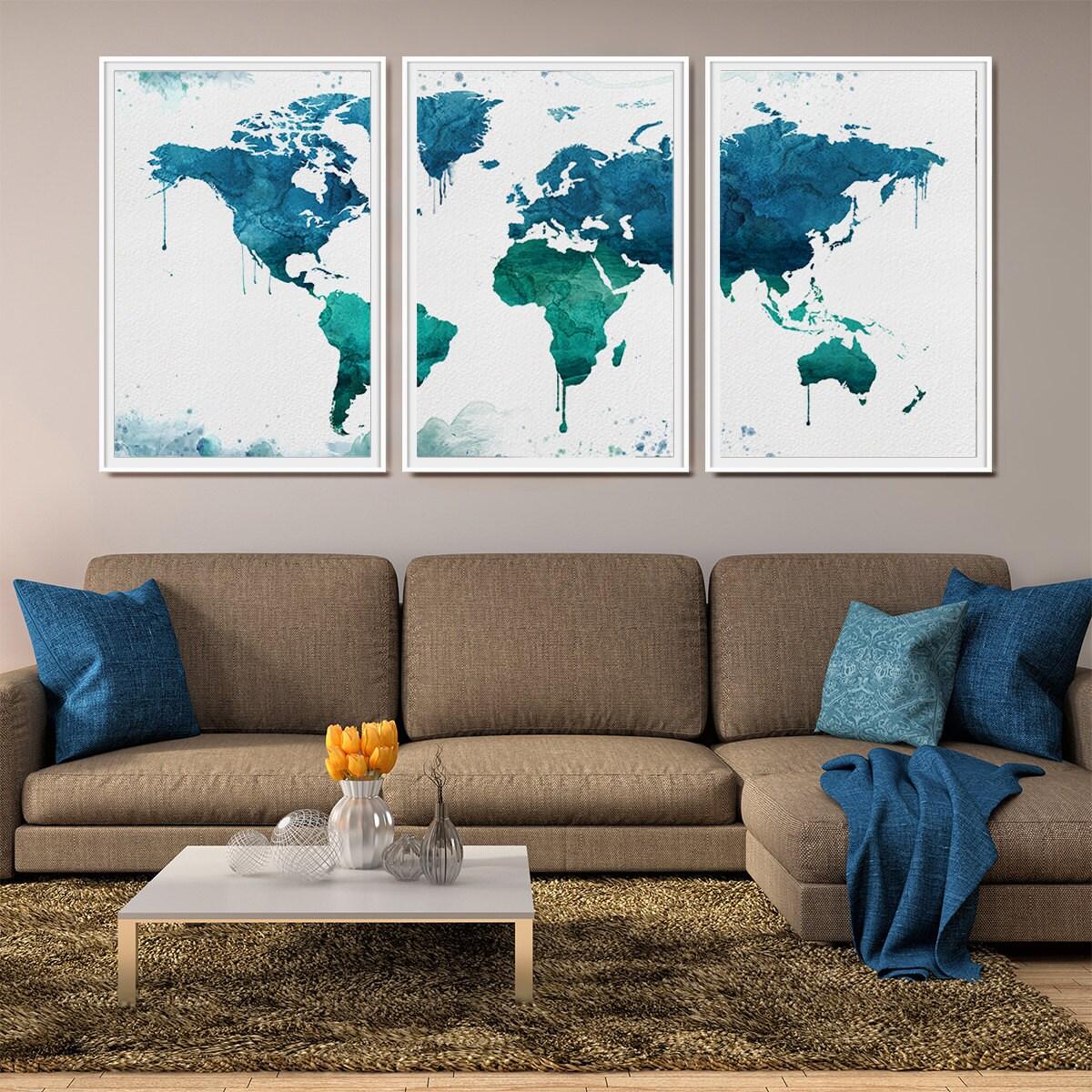 World map art print large wall art world map poster for World map wall art