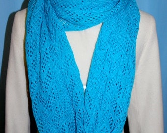 Women's Blue Knit Snood / Infinity Scarf / Knit Scarf / Handmade Scarf