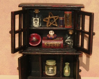Halloween Dollhouse Witch Cupboard Witch Hutch with Accessories