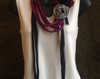 mulberry, gray,  and black upcycled   t shirt necklace