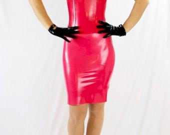 Latex dress with steel boned corset & back zipper