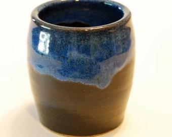 Handmade Blue Rimmed Black Cup