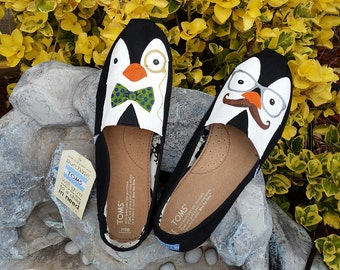 Custom Painted Hipster Penguins TOMS Shoes *Free shipping in the US*