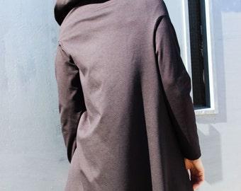Hoodie, Grey Asymmetric Coat, Hooded Top, Womens Blazer, Tunic Tops, Fraktura B0018
