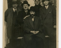 Them guys - original 30s photo- Real Photo Postcard- RPPC- portrait of a group of men- merry gang- wise guys- 30s style- suits and hats