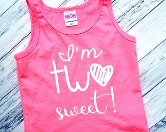 I'm TWO Sweet - Tank Top - Birthday Tank Tops - TWO Cute - Sparkly Tank Top - Birthday Girl - 2nd Birthday - Two year Old - Girls' Shirts
