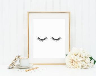 Makeup Print, Eyelash Print, Mascara Print, Fashion Decor Print, Black and White Wall Decor, Beauty Print
