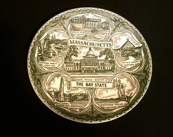 Vintage Massachusetts Collectable Plate    VG2384