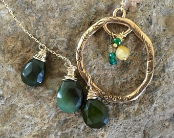 Gold Fill Wire Wrapped Forest Green Chalcedony Lariat with Gold Fill Chain, Gold Etched Pendant and Gemstone Accents