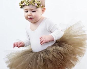 Brown tutu, First Birthday tutu, baby girl tutu, full tutu, toddler tutu, smash cake tutu, Thanksgiving tutu, Expecting mom gift