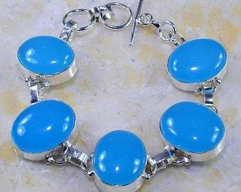 """Chalcedony Silver Bracelet Size 6 3/4 - 7 1/2"""""""