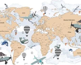 Avitation World Map Decal - Airplane Map Wall Decal - Clear Vinyl Decal - Traveller World Map Decal - Hot Air Balloon Decals - Nursery Decor