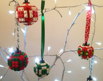 Christmas Tree Ornaments Baubles Made From Genuine New Lego Parts Choose Your Colours And Choose Your Ribbon