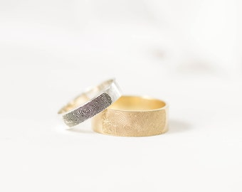 30% OFF -- Fingerprint Ring - Couples Fingerprints Rings - Personalized Fingerprint Jewelry - Wedding Band - Men Band - Gift for Him
