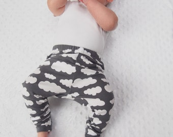 Baby Leggings - Grey Cloud - Unisex Baby - Girls Clothing - Boys Leggings - New Baby Gift - Baby Boys Clothes - Girls Pants - Cloth Diaper