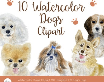 Watercolor Dogs Clipart: Beagle, Pomeranian, Chihuahua, Poodle, French Bulldog, Corgi and more! (Hand Painted Clipart)