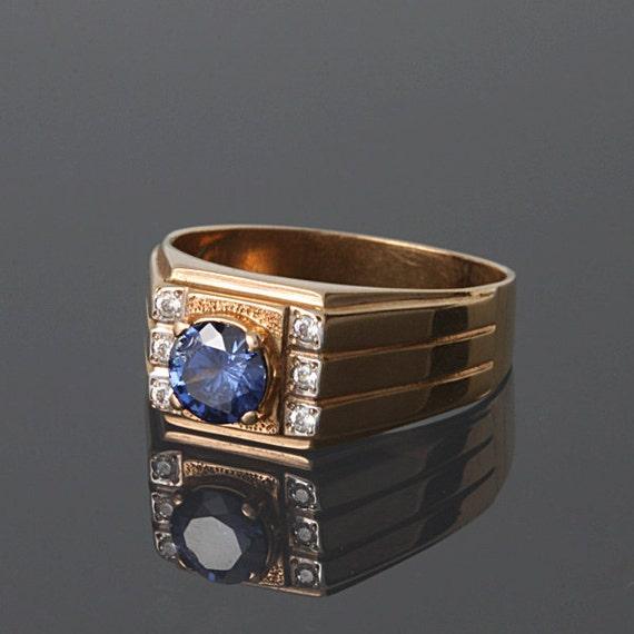 gold men ring blue stone ring art deco men ring art deco
