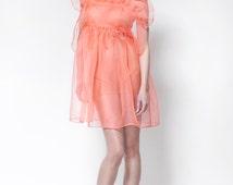 Pink Dress, Sheer Dress, Mini Dress, Club Dress, Cocktail Dress, See Through Dress, Pink Tunic, Long Tunic, Knee Length Dress, Tulle Dress
