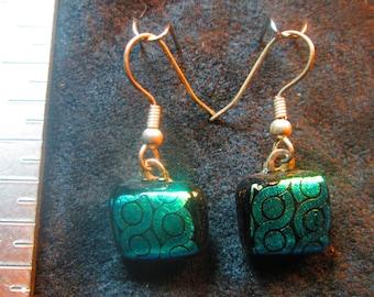 Green Twist  Fused Dichroic Glass Earrings