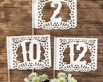 Papel Picado Table Number Flags - Papel Picado Suite -