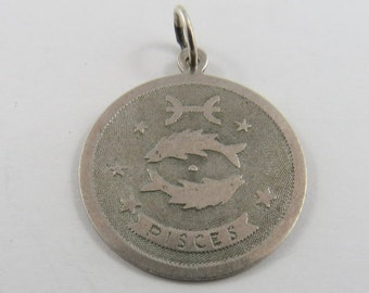 Zodiac Sign Pisces Sterling Silver Charm or Pendant.