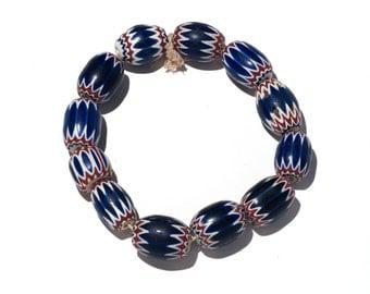 12 chevron trade beads six layers