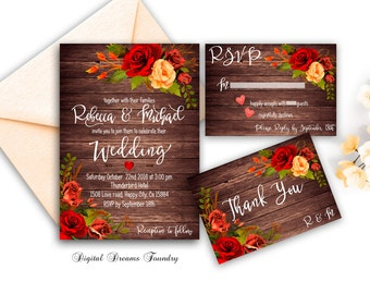 Fall wedding invitation | Etsy
