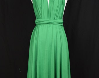 Bridesmaid Dress Green Infinity Dress  Knee Length Wrap Convertible Dress S319